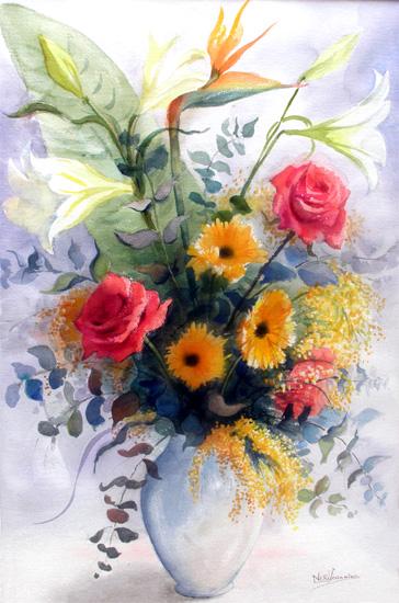 Aquarelles bouquet de fleurs vente aquarelles de fleurs for Vente de bouquet de fleurs en ligne
